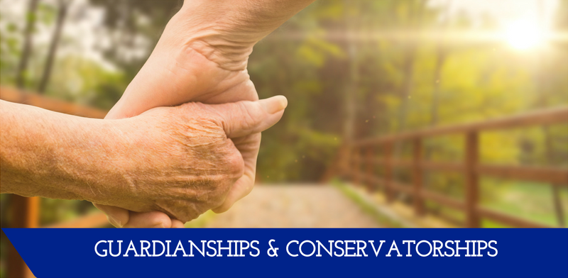 "A picture of hands being held in front of a bridge.  A banner at the bottom reads ""Guardianships & Conservatorships."""